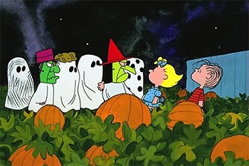 The Dark Secret Plot In 'The Charlie Brown Halloween Special' - Charlie Brown and his friends in the pumpkin patch with Linus and Sally