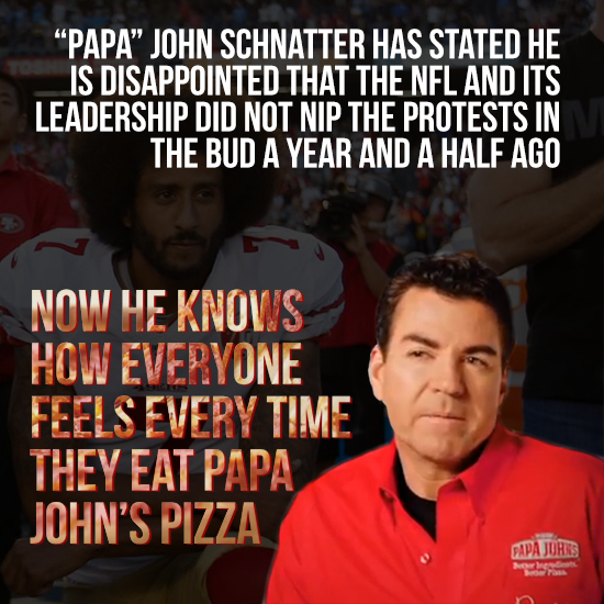NFL Protests Aren't Responsible For Papa John's Bad Sales