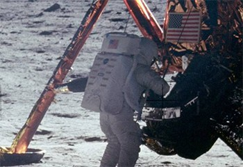 Behold, A Strong Contender For The Best Headline Ever Written - Neil Armstong standing on the moon next to the lunar rover