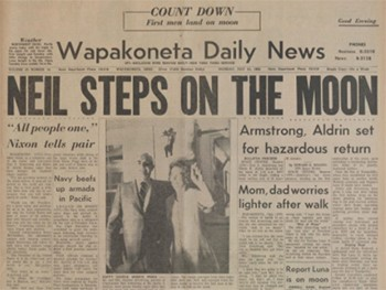 Behold, A Strong Contender For The Best Headline Ever Written - the front page of the Wapakoneta Daily News reading Neil Steps On The Moon