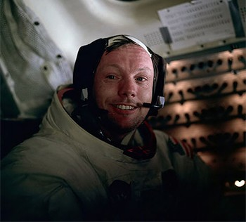 Behold, A Strong Contender For The Best Headline Ever Written - Neil Armstrong smiling as he landed on the moon