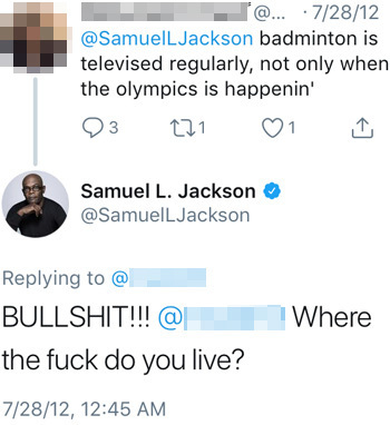 Note that it took exactly two minutes for millionaire superstar Samuel L. Jackson to respond to this.