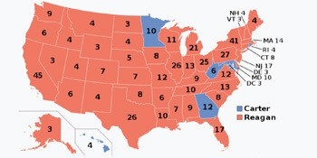 5 Forgotten Times Presidents Narrowly Escaped Death - a map of the 1980 US Presidential Election Results