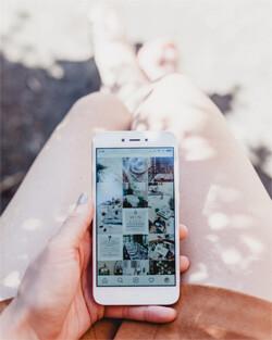 woman browsing instagram on phone