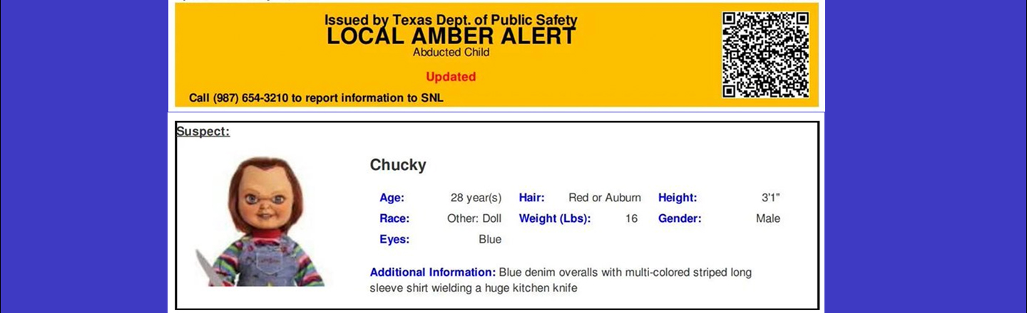 Texas Officials Apologize After Accidentally Sending Chucky Doll Emergency Alert