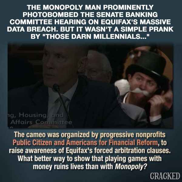 Monopoly Man Photobombs Equifax's Senate Hearing