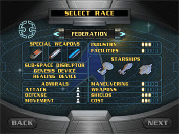 SELECT RACE FEDERATION 5PECIAL WEAPONS IVDUSTRY 10D FACILITIE5 0000 STARSHIPS SUB-SPACE DISRUPTOR GENE515 DE EVICE HEALING DEVICE ADMIRAL5 MANEUVERING