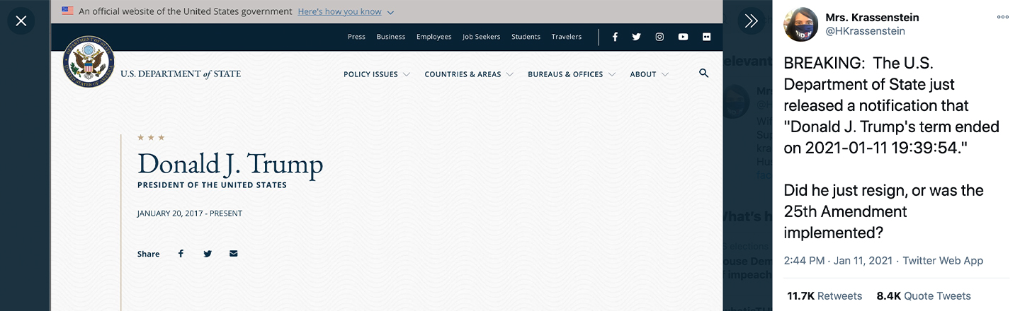 President Trump Gets Trolled On State Dept Website, Fingers Point To Angry Employee