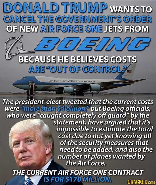 Donald Trump wants to cancel the government contract with Boeing