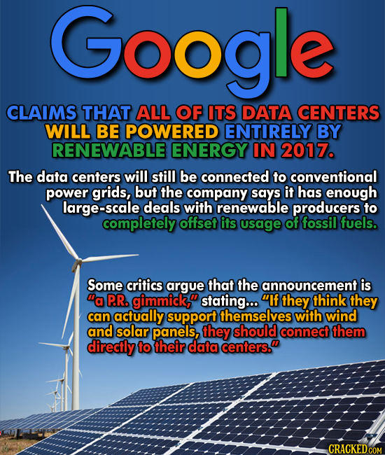 Google plans to power all its data centers with renewable energy