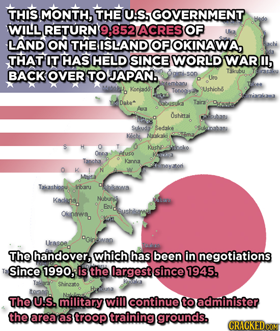THIS MONTH, THE U:S. GOVERNMENT Hedo ACRES 7613111 WILL RETURN 9.-852 OF Uka LAND ON THE ISLAND OF OKINAWA, Sachi THAT IT HAS HELD SINCE WORLD WAR I,