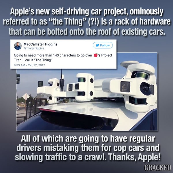 Apple's New Driverless Car May Doom Humanity