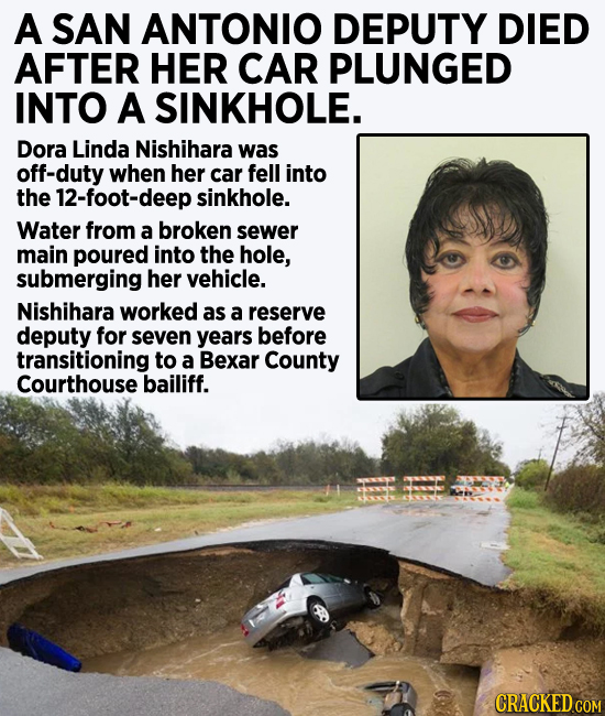 A San Antonio deputy died after her car plunged into a sinkhole