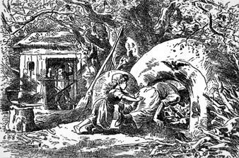 Black and white illustration of hansel and gretel