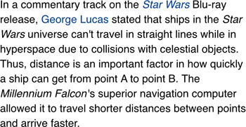 in a commentary track on the Star Wars Blu-ray release, George Lucas stated that ships in the Star Wars universe can't travel in straight lines while