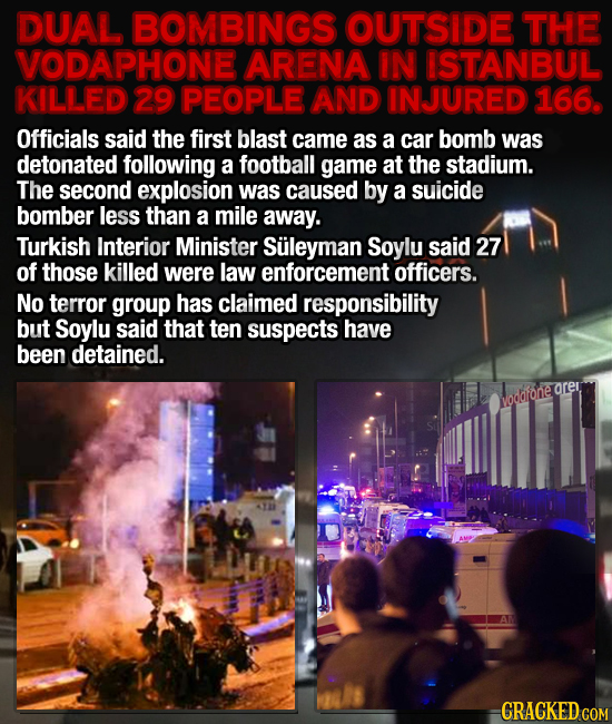 DUAL BOMBINGS OUTSIDE THE VODAPHONE ARENA IN ISTANBUL KILLED 29 PEOPLE AND INJURED 166. Officials said the first blast came as a car bomb was detonate