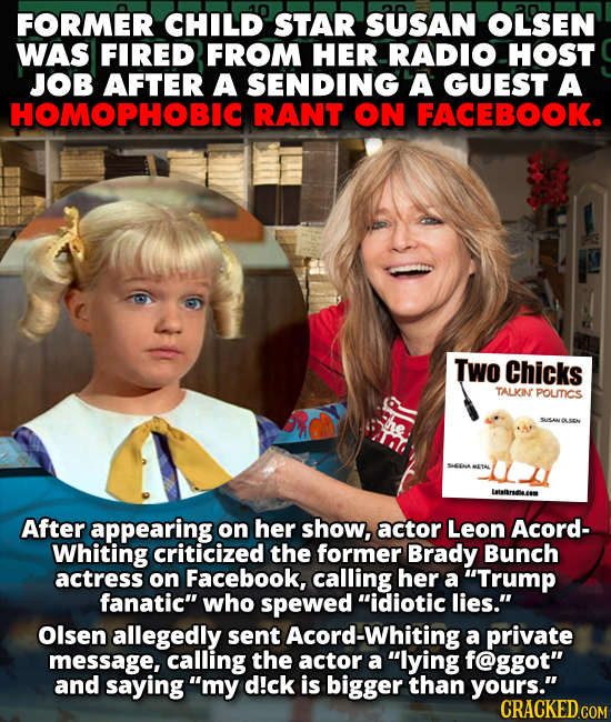 Child star Susan Olsen was fired for homophobic and threatening comments made on Facebook