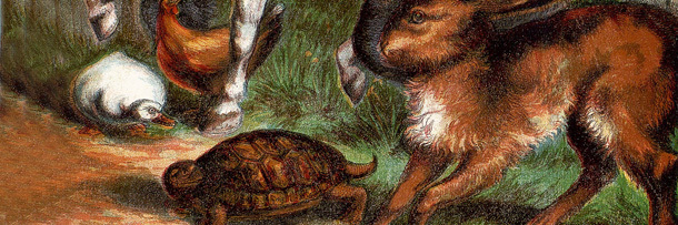 Painting of a tortoise looking at a hare