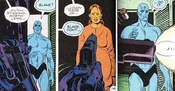 5 Promising Superhero Games Cancelled For Insane Reasons - the scene in Watchmen in which the Comedian shoots a pregnant Vietnamese woman and Dr. Manhattan watches
