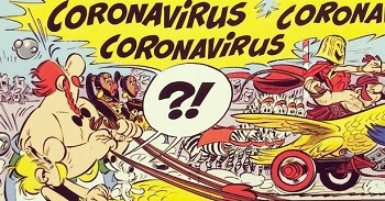 7 Huh? Pieces Of Movie Merchandise Nobody Asked For - a character yelling Coronavirus in the Asterix comic