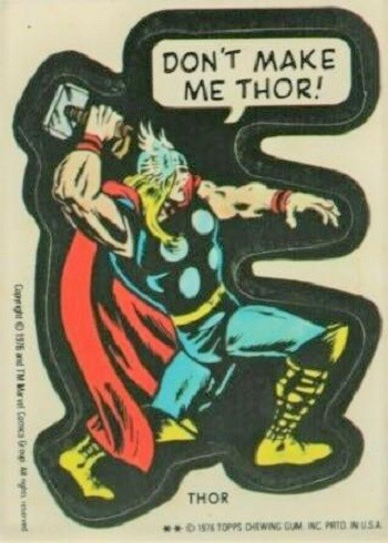 7 Huh? Pieces Of Movie Merchandise Nobody Asked For - an old Marvell sticker of Thor