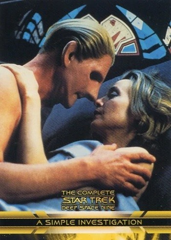 7 Huh? Pieces Of Movie Merchandise Nobody Asked For - trading cards depicting the Star Trek: Deep Space Nine character Odo having sex