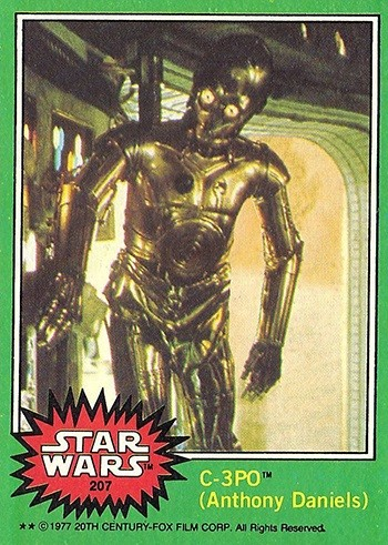 7 Huh? Pieces Of Movie Merchandise Nobody Asked For - the C-3PO card with his penis edited out