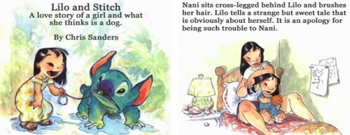 Lilo and Stitch Nani sits cross-legged behind Lilo and brushes A love her story of girl hair. Lilo tells a sweet a and what strange but tale that she