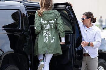 It was a message so tone-deaf that it somehow overshadowed that her jacket looked like something a 14-year-old made themselves.