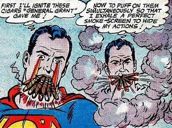 4 Reasons Anyone Who Says Superman Is A Boring Superhero Is Full Of It  Superman smoking a bunch of cigars cigarettes
