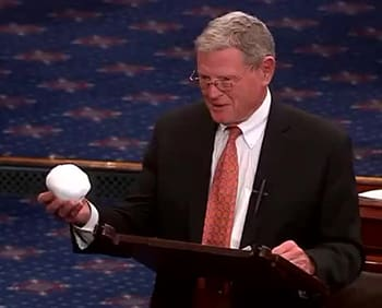 Of course, that's Jim Inhofe, whose <A TARGET=_blank HREF=https://en.wikipedia.org/wiki/Jim_Inhofe#Political_positions_and_controversies>resume</A> reads like a essay on the merits of punching every senator in the face on general principle.