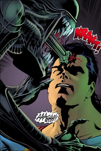 4 Reasons Anyone Who Says Superman Is A Boring Superhero Is Full Of It  superman getting bitten in the head during a fight with an alien xenomorph