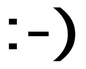 Sideways smily face make of a colon, hash, end parentheses