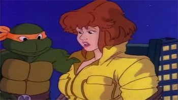 Unknown creators of beloved pop culture - Michelangelo of the Teenage Mutant Ninja Turtles stares inappropriately at April O'Neil