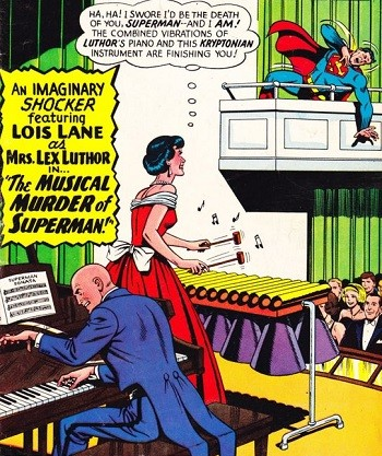 Wonder Woman Undercover Boss: 5 Crazy DC Projects That Went Nowhere - Lex Luthor and Lois Lane playing musical instruments in order to kill Superman, a comic book cover