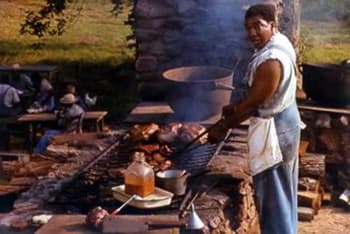 This man is cooking human meat.
