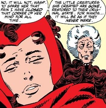 5 Real-But-Bananas Plots You Won't See On Wandavision the Avengers erasing the memories of Wanda Maximoff of her children