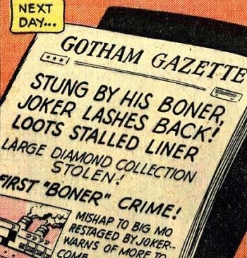 8 Famous Superhero Memes That Are Even Dumber In Context a newspaper announcing Joker's boner