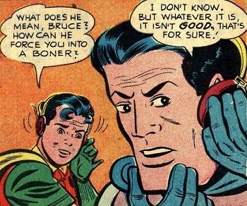 8 Famous Superhero Memes That Are Even Dumber In Context  Batman and Robin discussing Joker's boner