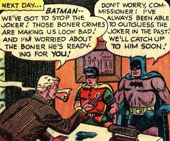 8 Famous Superhero Memes That Are Even Dumber In Context  Batman Commissioner Gordon and Robin discussing the Joker boner