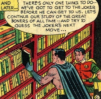 8 Famous Superhero Memes That Are Even Dumber In Context  Batman and Robin reading library books on famous boners to stop Joker