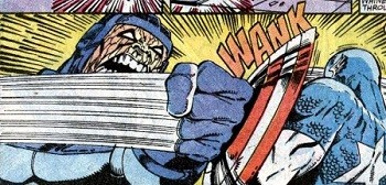 8 Famous Superhero Memes That Are Even Dumber In Context the panel of Captain America defending himself with his shield and it going WANK