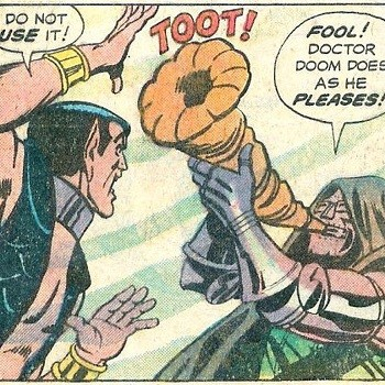 8 Famous Superhero Memes That Are Even Dumber In Context Dr Doom blowing his horn and it going toot