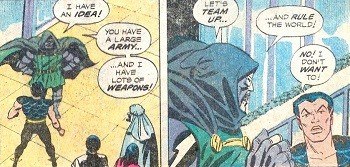 8 Famous Superhero Memes That Are Even Dumber In Context Dr Doom mind controlling Namor to make his horn go toot