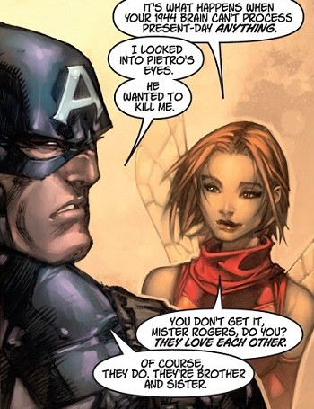 5 Real-But-Bananas Plots You Won't See On Wandavision  Ultimates Wasp explaining to Captain America about the incest between Quicksilver and Scarlet Witch
