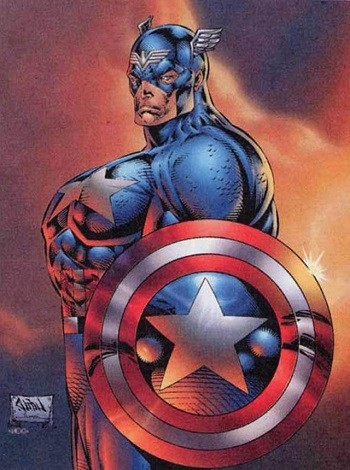 8 Famous Superhero Memes That Are Even Dumber In Context Captain American as drawn by Rob Liefeld with giant pecs
