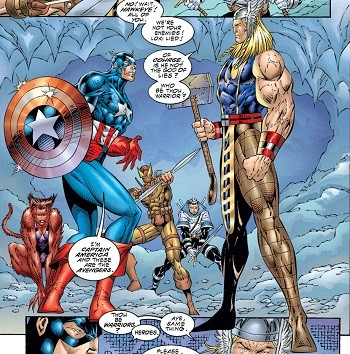 8 Famous Superhero Memes That Are Even Dumber In Context  Captain America and Thor as drawn by Rob Liefleld
