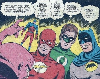 8 Famous Superhero Memes That Are Even Dumber In Context  Batman, Flash, Atom, and Green Lantern realized they have doomed those who they have touched including Robin