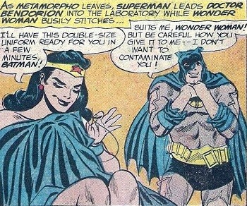 8 Famous Superhero Memes That Are Even Dumber In Context  Wonder Woman making a costume for a giant Batman