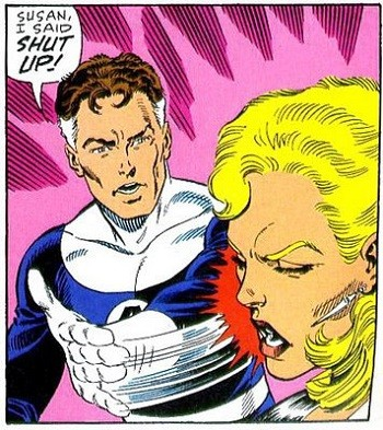 8 Famous Superhero Memes That Are Even Dumber In Context  Reed Richard Mr Fantastic slapping Sue Storm The Invisible Woman